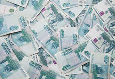 Background of thousand russian roubles bills Royalty Free Stock Photos
