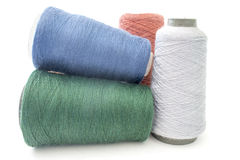 Background from threads and yarns isolated over white Royalty Free Stock Images