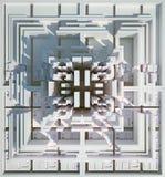 Background of three-dimensional white blocks. 3d rendering stock illustration