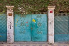 Background of green old weathered grunge antique wrought iron gates with floral pattern ornaments and two white bricks columns. Background of three green old royalty free stock photo
