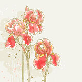 Background with three red iris flowers vector illustration