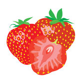 Background. Three ripe juicy strawberries. Stock Photo
