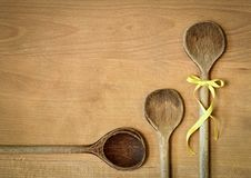 Background three spoons Stock Images