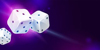 Background with three white game dices. Poker gambling. Shiny background with three white game dices and copy space on dark blue. Casino gambling. Poker, table Stock Photo
