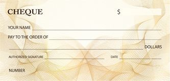 Check cheque, Chequebook template. Gold lines pattern Guilloche watermark. Background for ticket, Voucher, Gift certificate, banknote, money design, bank note royalty free illustration
