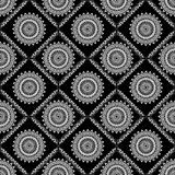 Background tile with fine lace patterns in white and black Stock Images