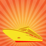Background to cards. Tourism and transport. Ship symbol in the rays of the rising sun Royalty Free Stock Image