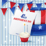 Background to Independence Day on July 4 with flags and caps.  royalty free illustration