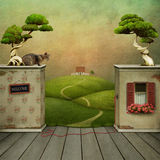 Background to the room and exit. Surreal backdrop to placement and nature. Computer Graphics Stock Photography