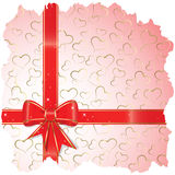 The background to the  St.Valentine. With red bow and gold hearts Stock Photo