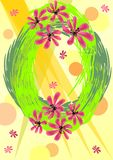 Background to welcome spring with green wreath and flowers Royalty Free Stock Photo