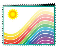 Rainbow stamp. Background to write a message, a communication Stock Image