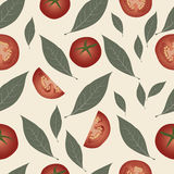 Background tomato and laurel leaves. Condiment seamless food pattern Stock Photos