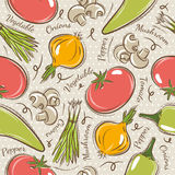 Background with  tomato, onions,  pepper. Royalty Free Stock Photos