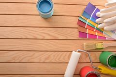Background of tools to paint and do diy at home stock image