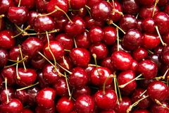 Background top view of cherries Royalty Free Stock Photos