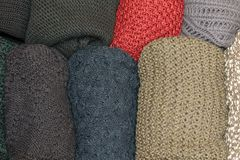 Top view of open drawer with wool sweaters Royalty Free Stock Images