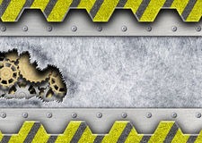 Background torn metal plates with a mechanism unit Iron, 3d, ill. Damaged metal plate with a mechanism for iron background design, 3d, illustration Stock Image