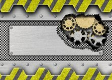 Damaged metal plate with a mechanism for iron background design Royalty Free Stock Images