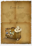 Background tourism, antique papyrus, suitcase, hat and a map of the world.hand drawn Stock Image