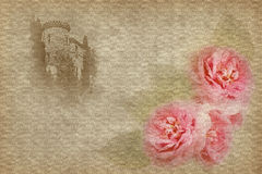 Background with a  tower and roses Stock Images