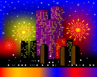 Background townhouses with festive firework. Illustration background townhouses with festive firework in the night Stock Photography