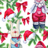 Background toys. Seamless pattern. Watercolor Christmas illustration. Stock Image
