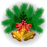 Background with traditional green decor and Christmas bells. Stock Photo