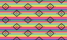 Black tribal pattern on brightly colored stripes. Background of traditional tribal pattern in black on brightly colored stripes vector illustration