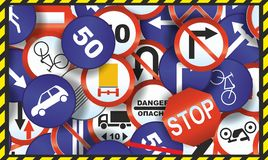 Wallpaper of Traffic signs. Background of many Traffic signs Royalty Free Stock Photos