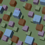 Background of transparent cubes. Abstract vector background of colored transparent cubes on a green background Stock Photos
