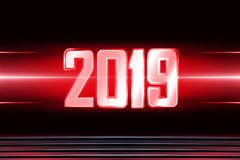 Background with transparent figures 2019 for New Year. Technology background with transparent figures 2019 for New Year stock illustration