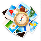 Background  with travel photos and compass. Stock Photo