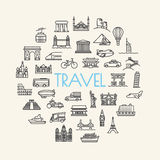 Background travel, vacation, famous places Transportation and Ve Stock Images