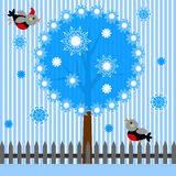 Background with  tree and birds . Stock Photography