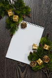 Background of tree branches and space for greetings for Christmas and New Year greeting card Royalty Free Stock Photo