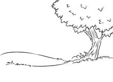 Background tree contour illustration Stock Image