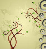 Background with tree and mechanism. Royalty Free Stock Image