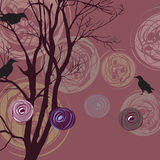 Background with tree, ravens and abstract elements Stock Photos
