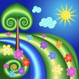 Background with tree, sun, flowers in a spiral Royalty Free Stock Images