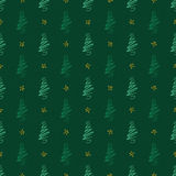 Background Trees On Green. Textured background of stylized christmas trees on green with gold stars Royalty Free Stock Images