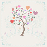 Background with trees and hearts Royalty Free Stock Photos