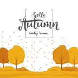 Background with trees, leaves fall and handwritten lettering Hello Autumn goodbye Summer. stock illustration
