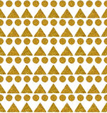 Background with triangles and circles of golden glitter, seamless pattern Stock Photos