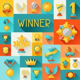 Background with trophy and awards in flat design Stock Photo