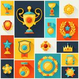 Background with trophy and awards in flat design Stock Images