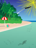 Background tropical beach destination. With a shadow of scuba diver and some fish and an umbrella and a beach ball Stock Photo