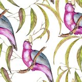 Background of tropical elements of birds and flowers. Seamless pattern. Watercolor illustration Stock Illustration