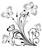 Background with tropical flowers with butterfly Royalty Free Stock Images