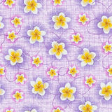 Background of tropical flowers plumeria on fabric Royalty Free Stock Image